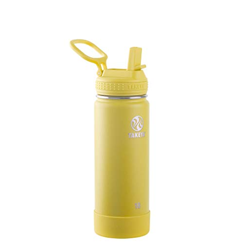 Takeya 51206 Actives Insulated Water Bottle w/Straw Lid, Stainless Steel, Canary