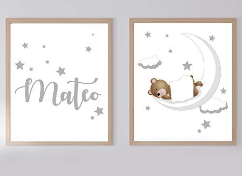 Set de 2 Posters Infantiles Personalizados para Enmarcar A4/21x29.7, Decoración de Nubes Luna y Osito Unisex.DM07