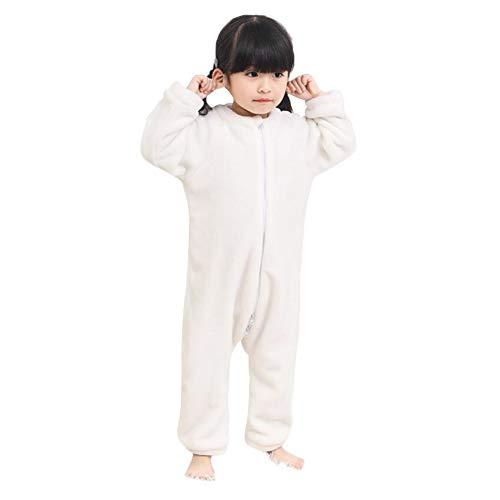 DEBAIJIA Bebé Mameluco 1-3T Infantil Peleles Recién Nacido Monos Niños Camisones Niña Pijama Niño Ropa de Dormir Unisexo Franela (Blanco-110)