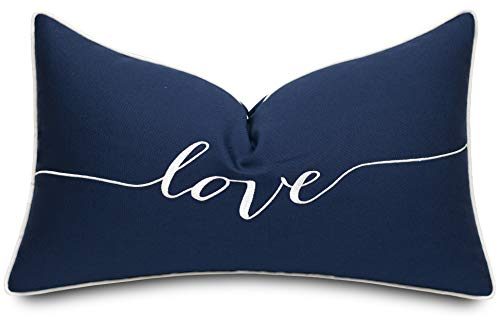 ADecor Love Sentiment Cotton Embroidered Lumbar Accent Throw Pillow Cover - Bedroom Decor, Gift for Wedding, Anniversary - 12x20 Inches, Navy Blue