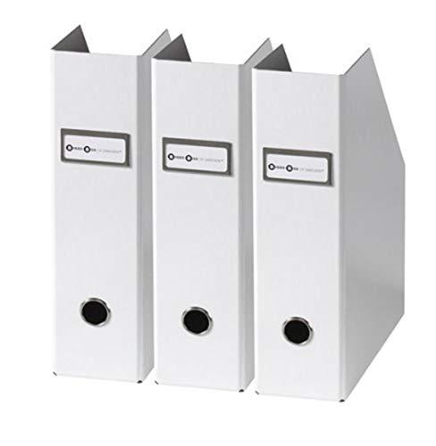 Bigso Fiona 3pc. Fiberboard Upright Magazine Storage Boxes, 10 x 12.5 x 3.3 in, White