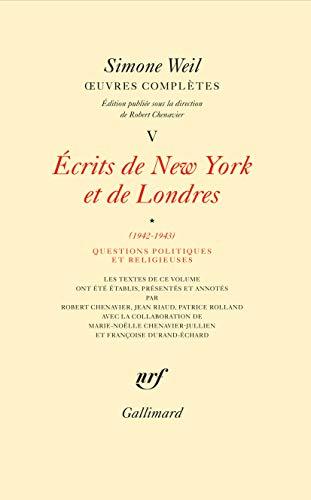 OEuvres complètes (Tome 5 Volume 1)-Écrits de New York et de Londres (1942-1943))