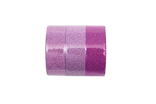 Glitzer Klebeband Tape Basteltape zum Basteln im 3er Set 3 x 5m Rosa Mix
