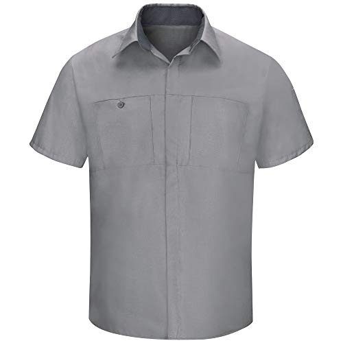 Red Kap Men's Short Sleeve Performance Plus Shop Shirt with OilBlok Technology, Light Grey with Charcoal Mesh, 4X-Large