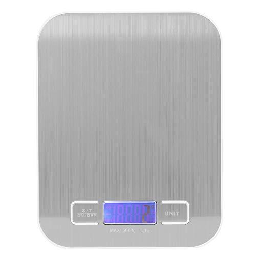Jopwkuin 5 kg / 1 g Mini básculas Báscula de Cocina Digital Porable Básculas para Alimentos de Acero Inoxidable Balanzas de Cocina Balanza de Cocina electrónica con Cambio de g/LB/oz/ml/kg