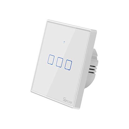 Sonoff touch EU-Sonoff Smart Wi-Fi Interruptor de luz táctil, Control Remoto de Vidrio Templado Panel de luz LED Interruptor de pared táctil