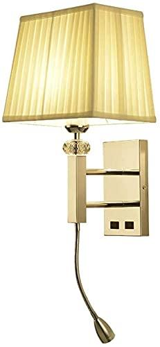 Lámpara de pared para dormitorio Dormitorio Lámpara de pared Beige Lámpara LED LED LED LIGHTING 2 Interruptores de acero inoxidable E27 Laves de lavado de pared de base con foco 360 ° Brazo ajustable
