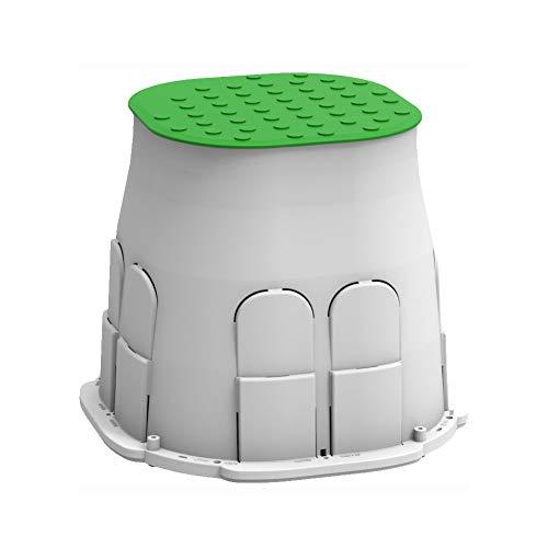 Arnocanali PB2020V Drain Box - Pozzetto con coperchio carrabile e viti in acciaio inox, Grigio/Verde prato, Base 20x20 cm