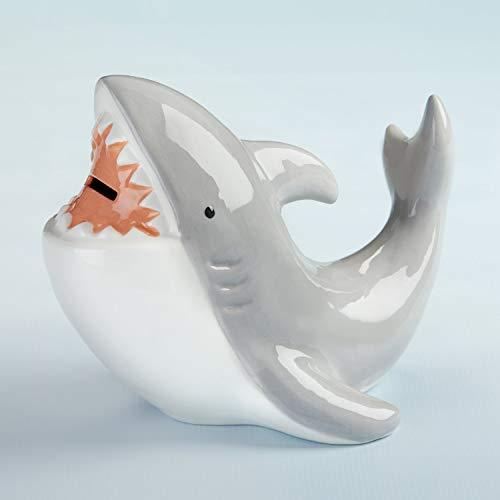 Baby Aspen Shark Piggie Bank Ceramic Coin Bank, White