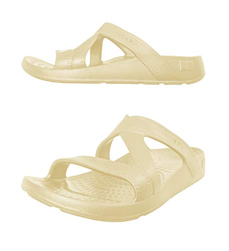 NUUSOL Hailey Slide Women Flip Flops; Egonomic Women Sandals, Textured Footbed, Soft-Cushion, Non-Slip, Orthotics Arch Support, Relieve Plantar Fasciitis Pain, XXX-Small (6 Women) Sand Stone