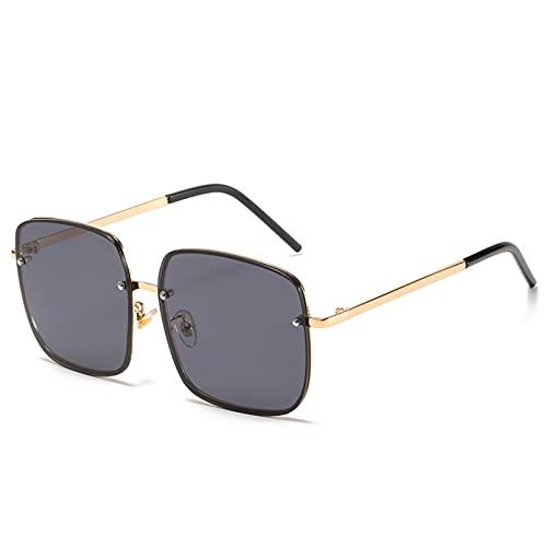 YTYASO Gafas de Sol de Pesca para Mujer, Gafas de Gran tamaño, Gafas cuadradas con Montura metálica, Gafas de Sol para Mujer, Gafas UV400, Gafas con Lente oceánica