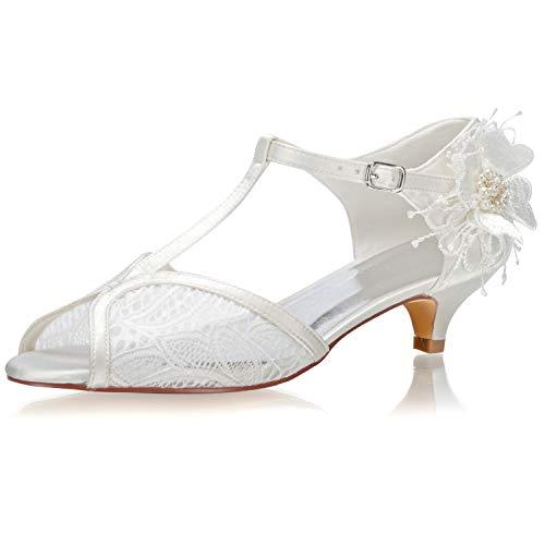 JIAJIA 01135 De Las Mujeres Zapatos de Novia Peep Toe Correa en...