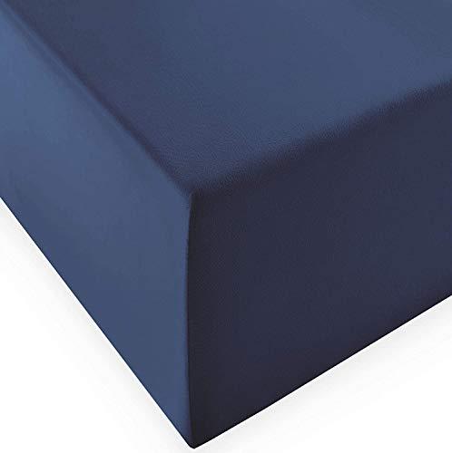 fleuresse Comfort XL Lenzuolo con angoli elasticizzati (96% cotone, 4% elastan), con elastico in gomma Rumdum, Ökotex Standard 100, per materassi fino a 40 cm di altezza, 180-200 x 200-220 cm, denim