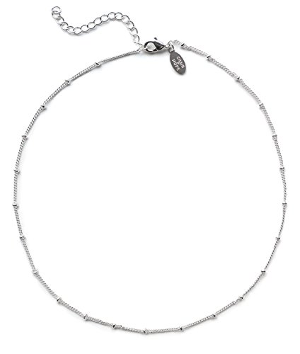 Choker Necklaces for Women | 14k White Gold Necklace for Women | Satellite Beaded Choker Necklace | Curb Chain Necklace for Layering | White Gold Necklaces for Women | Beautifully Gift Boxed