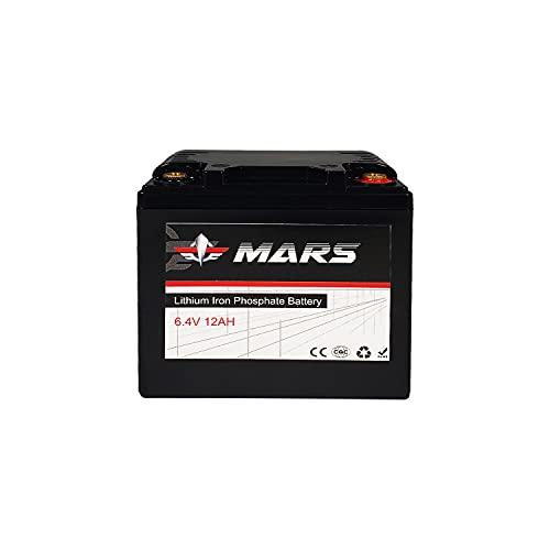 Batería de Coche 6.4V Batería de Litio Bateria de Autocaravana Barco Car Battery Ciclo Profundo Resistente a Las Vibraciones Pilas (6.4V 12Ah)