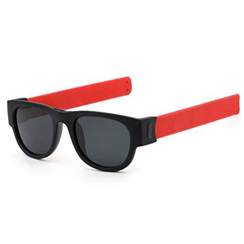 T-ara La tecnologia mas Nueva Pliegue Slap Pulsera Deporte Gafas de Sol Mujeres Gafas de Sol para la Pulsera Masculina Pliegue Sombras Gafas Moda (Frame Color : Non Polarized, Lenses Color : Red)
