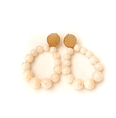 Boucles d'oreilles perles blanches, créoles vintage, cadeau femme