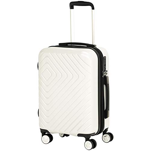 AmazonBasics Geometric Travel Luggage Expandable Suitcase Spinner with Wheels and Built-In TSA Lock, 21.7-Inch - Cream