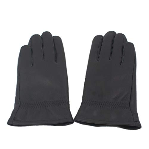 Yosang Kids Genuine Leather Winter Warm Gloves with Cashmere Lining Black - Large