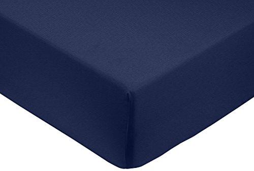 AmazonBasics Spannbetttuch, Baumwoll, Satin Fadenzahl 400, knitterarm, 140 x 200 x 30 cm - Marineblau