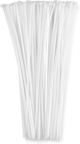 12 Inch Zip Cable Ties (100 Pack), 50lbs Tensile Strength - Heavy Duty White, Self-Locking Premium Nylon Cable Wire Ties for Indoor and Outdoor by Bolt Dropper