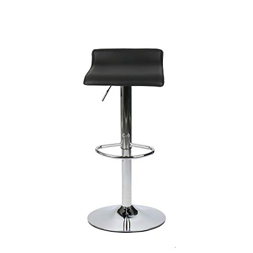 Set of 2 Adjustable Swivel Barstools, PU Leather with Chrome Base, Gaslift Pub Counter Chairs, Black