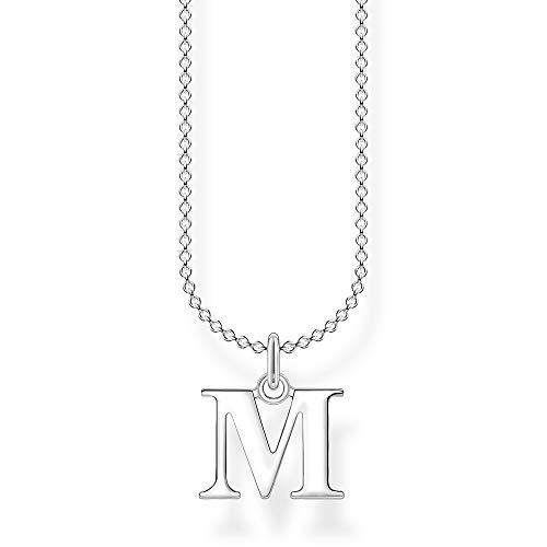 Thomas Sabo Damen Halskette Buchstabe M silber 925 Sterlingsilber, 38-45 cm Länge