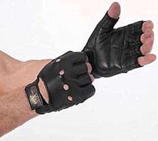 Black Leather Weight Lifting Gloves For GYM Dumbbells & Bars for hand protection.