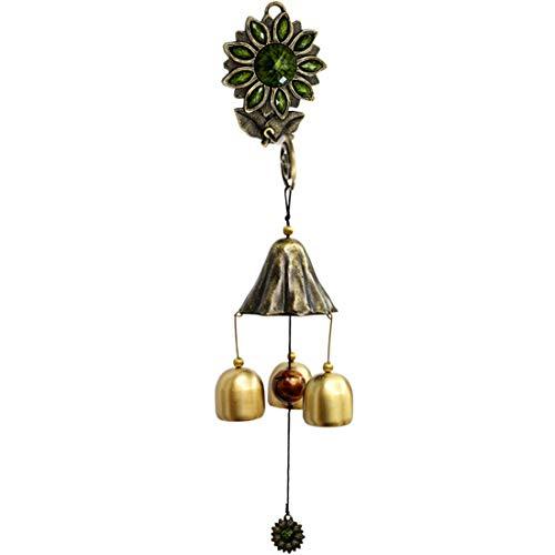 Zelro Vintage Shopkeepers Deur Bell Wind Chime Triple Deurbel met 3 messing klokken Geweldig als een Kwaliteit Geschenk Geschikt voor Patio veranda tuin of achtertuin Decoratie Groen