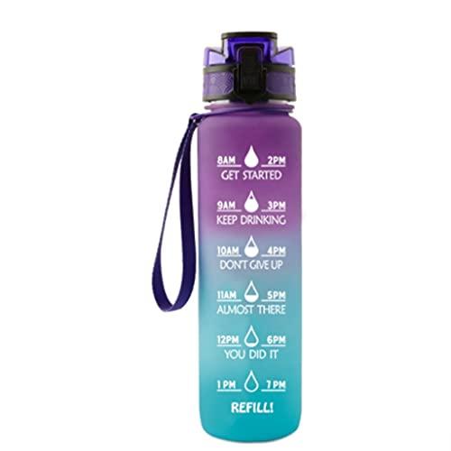 BARLEY Gradiente 35.2oz Botella de Agua Deportiva Gran Medio galón no BPA Premium Tritan Time Water Volumen Escala Deportes Agua Jarra (Color : Purple-Blue Gradient)