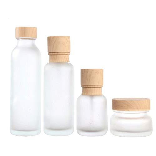 Milchglasflasche,Flüssigkeitsbehälter,Geeignet für Shampoo Lotion Cream Kosmetik etc,kann als Reiseflaschenset Verwendet Werden und Ist Auch für Den Hausgebrauch Geeignet,4 Verschiedenen Größen