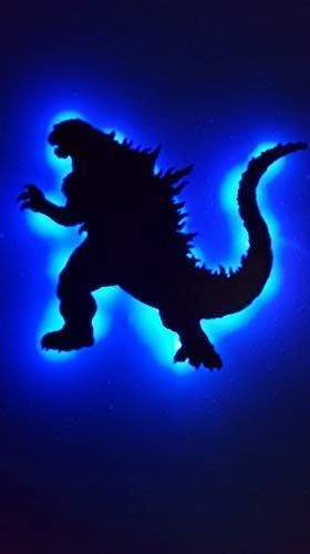 Godzilla Wood Led sign, Handmade, Personalized reptile light wall hanging gigantis dagon