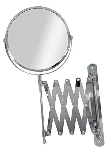 Espejo tocador Maquillaje Doble de 5 Aumentos - Extensible con Acabado Cromado y Brazo de Pared (1 Espejo)