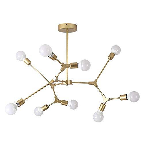 LLLKKK Sputnik - Lámpara colgante de 9 luces, diseño moderno, color dorado