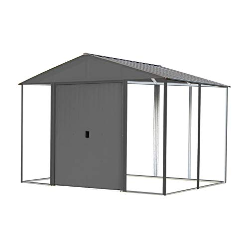 Arrow 10' x 8' Ironwood Galvanized Steel and Wood Panel Hybrid Outdoor Shed Kit, 10' x 8', Anthracite