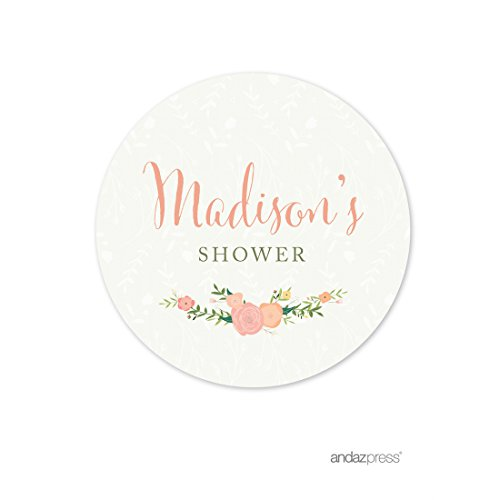 Andaz Press Floral Roses Girl Baby Shower Collection, Personalized Round Circle Label Stickers, Madison's Shower, Your Text Here, 40-Pack, Custom Made