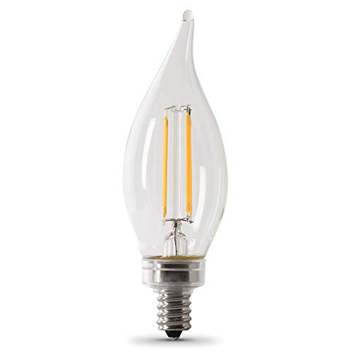 Feit Electric CFC40/950CA/FIL/6 3.3W 40W Equivalent Clear Dimmable 300 Lumen Flame Tip 6-Pack LED Chandelier Light Bulb, 6 Count (Pack of 1), 5000K (Daylight), 6 Piece