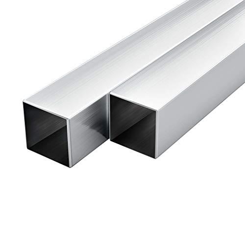 UnfadeMemory Tubo de Aluminio Cuadrados para Maquinaria,Barras Huecas de Aluminio,6uds (Longitud 197cm, 40x40x2mm)