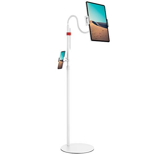 Tablet Floor Stand, Klearlook Height Adjustable Gooseneck Tablet Holder, 360 Degree Rotation, Flexible i'Pad Stand Compatible with i'Pad Pro, Galaxy Tab, Surface Pro, Kindle, 4.7–13 inch