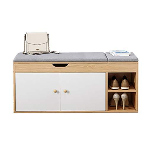 Cambio de Taburete de Zapato Cojín desmontable con organizador de almacenamiento de entrenamiento de compartimento de almacenamiento oculto v Estante de Zapatos ( Color : Khaki , Size : 100x34x45cm )