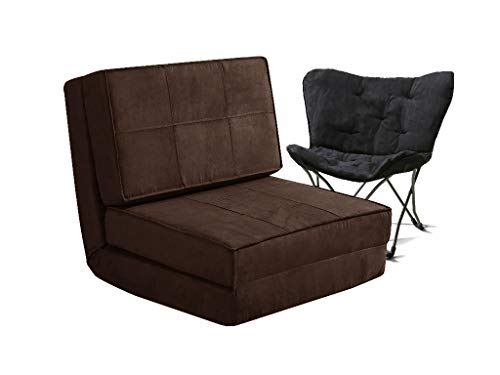 Your Zone - Flip Chair Convertible Sleeper Dorm Bed Couch Lounger Sofa and Folding Chair, Brown