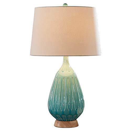 CJH tafellamp voor slaapkamer, hotel, bureaulamp, eenvoudig, Scandinavisch, stof, lampenkap, knop, schakelaar
