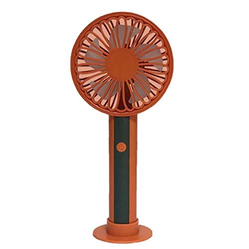 Mini Ventilador de Mano USB Recargable Ventilador de Escritorio Mano con 3 Niveles de batería 1200mAh para la Seguridad del Dormitorio al Aire Libre Viajes a Orange Necesidades diarias del hogar