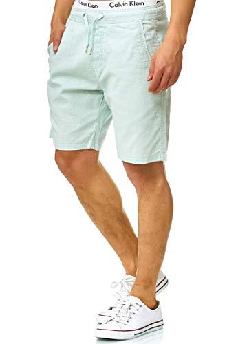 Indicode Herren Bridstow Chino Shorts aus 55% Baumwolle & 45% Leinen | Kurze Hose Regular Fit Bermudas Knielang Sommerhose Herrenshorts Short Men Pants Chinohose kurz f. Männer Surf Spray XXL
