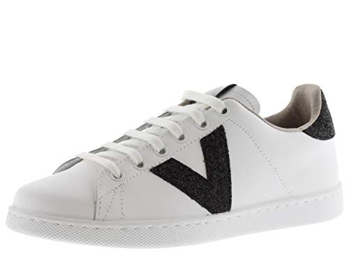 victoria Damen Niedrig 1125188-WOMEN Tenis Sneaker Leder and Glitter Details Negro 36