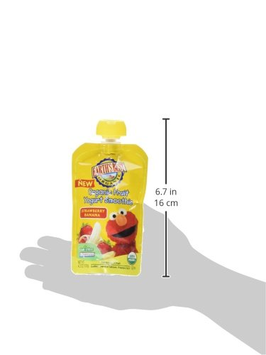 Earth's Best Organic Sesame Street Toddler Fruit Yogurt Smoothie, Strawberry Banana, 4.2 Oz Pouch (Pack of 12)