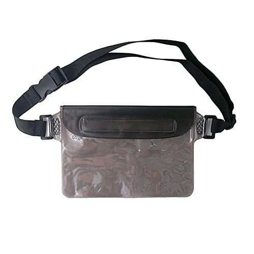 ALMHPVC 1Pack Waterproof Pouch Bags,IPX8 Waterproof Waist Bags with Adjustable Strap,Large Capacity Screen Touchable Dry Bags Perfect for Beach, Swimming, Boating, Fishing, Hiking etc (1Pack Black)