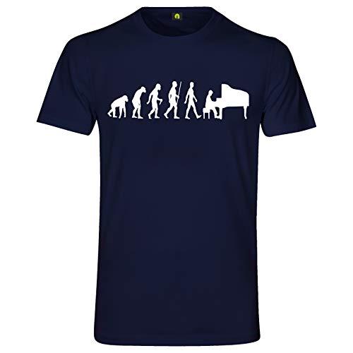 Evolution Klavier T-Shirt | Piano | Flügel Pianino | Auftritt | Band | Spielen Navy Blau L
