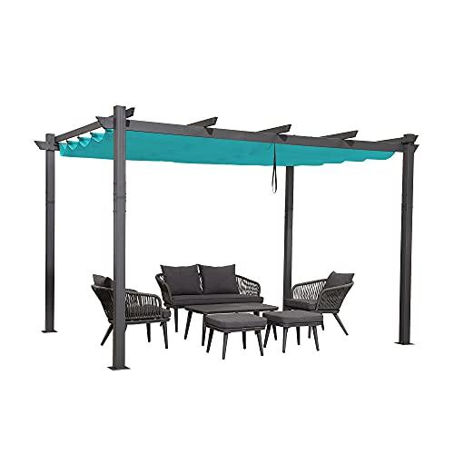 PURPLE LEAF 10' X 12' Aluminum Outdoor Retractable Canopy Pergola Deck Garden Patio Gazebo Grape Trellis Pergola, Turquoise Blue