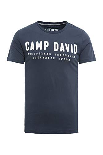Camp David Herren T-Shirt mit Round Neck und Logo-Stickerei marine XL